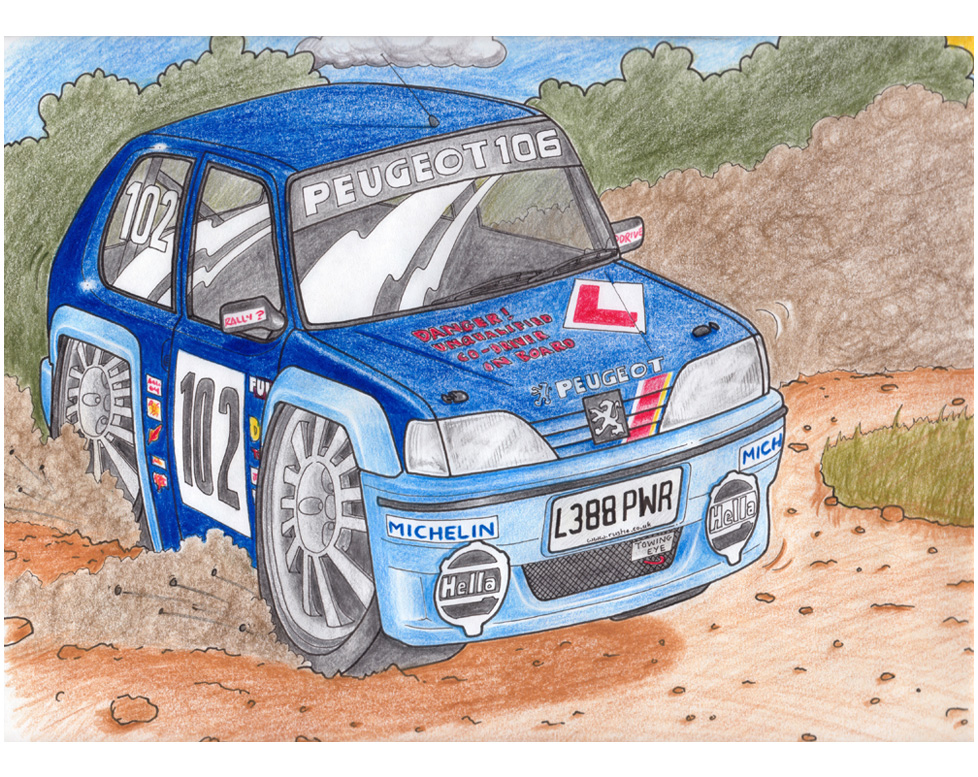 drawing-pencil-peugeot-rally-car