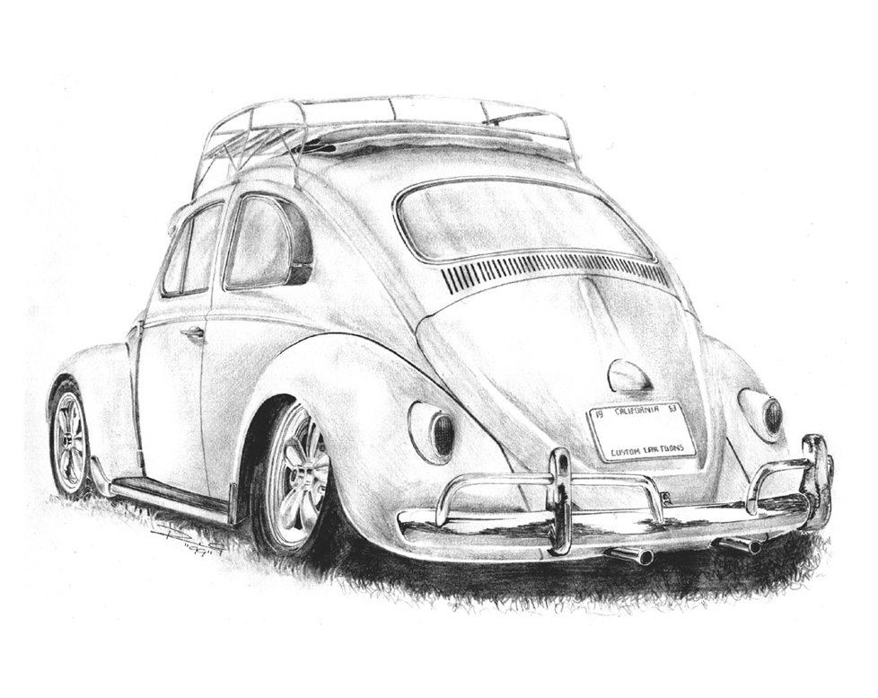 drawing-pencil-vw-beetle-cal-look