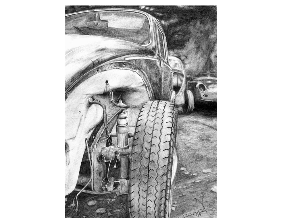 drawing-pencil-vw-beetle-scrap-porsche