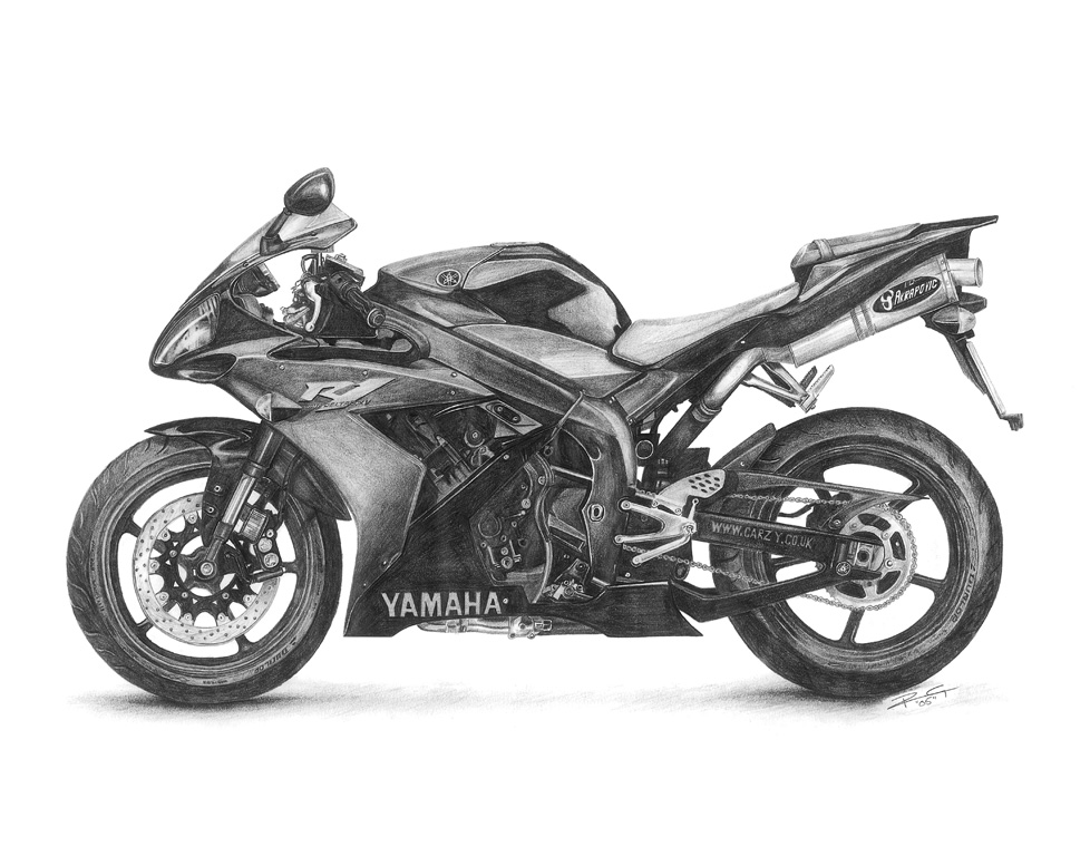 drawing-pencil-yamaha-R1-motorbike