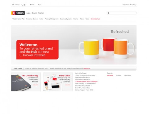 LJ Hooker – Intranet 'hub' design